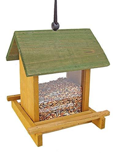 Spetebo Holz Vogel Futterstelle zum Hängen - 21x17x17 cm - Futterhaus Futterstation Futterspender Vogelhäuschen