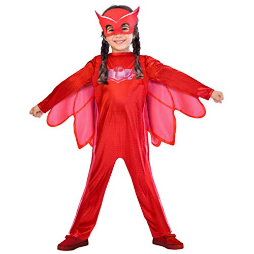 amscan- PJMASQUES Costume Pj Mask Owlette (7-8 Anni), Multicolore, 7, 7AM9902950
