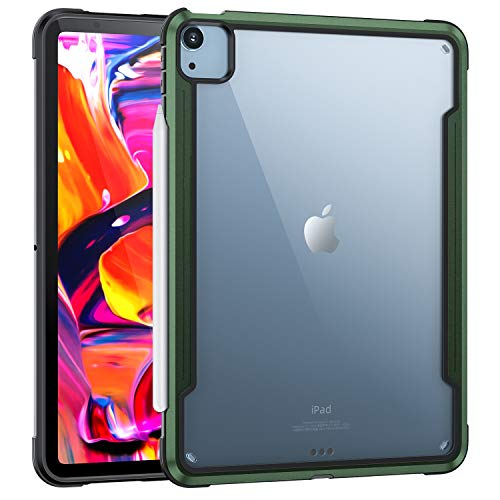 HaoHZ Case for New Ipad Air 4Th Generation, (10.9-Inch, 2020), Slim Shockproof Flexible TPU Air-Pillow Edge with Aluminum Alloy, [Support 2Nd Gen Apple Pencil Charging],Green