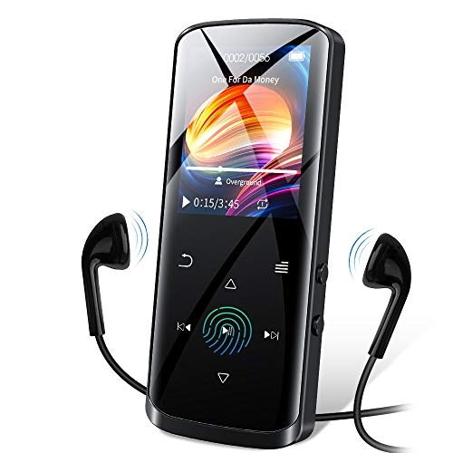 RUIZU Mp3 Player, Upgraded Bluetooth 5.0 Mp3 Player, 8GB Portable HiFi Lossless Sound Music Player with Speaker, FM Radio, Voice Recorder, E-Book, Video Player, Pedometer, Support up to 128GB(Black)
