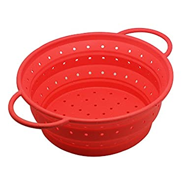OILP Large Silicone Collapsible Colander Kitchen Strainer Fruit Basket for Outdoor Travel Camping Hiking,10.04 (7 Quart),Easy to Carry and Store (Large, Red)