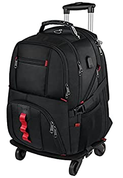 Rolling Backpack with Wheels Backpack on Wheels for Men Women Adults,17 inch Wheeled Roller Computer Rucksack for Travel Business College School,Gifts for Men Women Boyfriend Girlfriend,Black