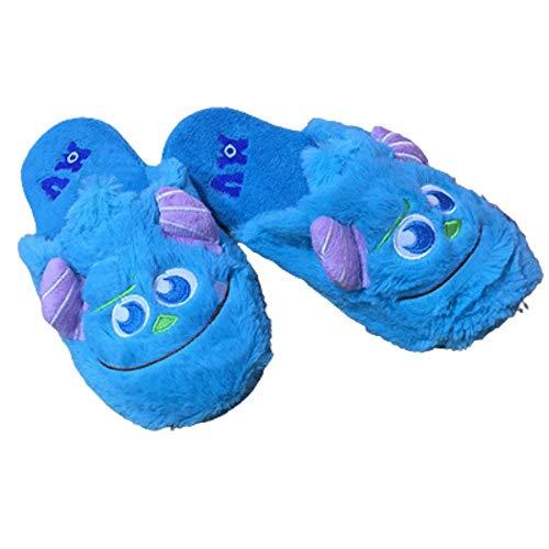 Y-PLAND Monster University Hairy Monster Cute Monster Mopa de algodón, Dibujos Animados Otoño e Invierno Felpa cálida Antideslizante Zapatillas de Pareja-Azul_EU40-42