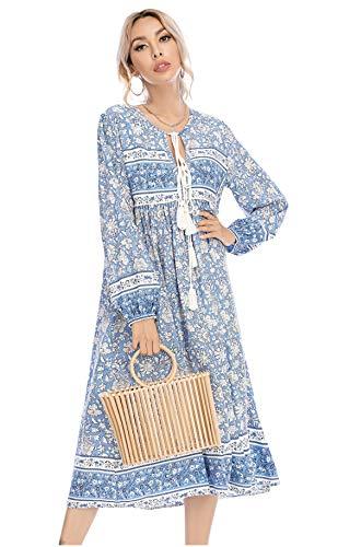R.Vivimos Women's Long Sleeve Floral Print Retro V Neck Tassel Bohemian Midi Dresses (XL, Light Blue)