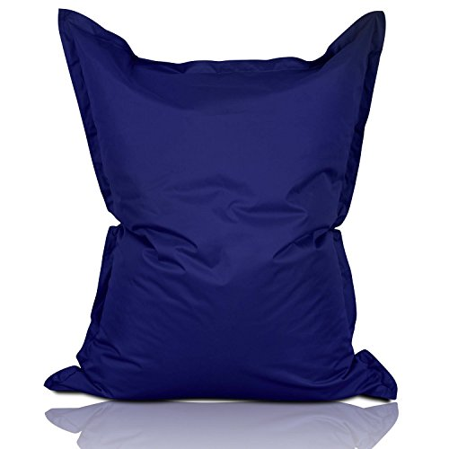 Lumaland Grand Pouf Chaise de XXL de Jeux, pour intérieur et extérieur, Le Salon ou Chambre Coussin avec Housse Lavable 380L 140 x 180 cm Bleu Marine