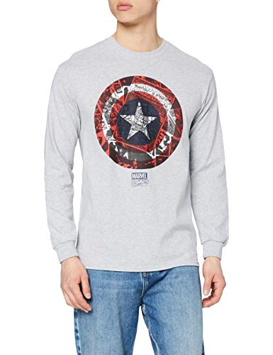Marvel Ca Comic Shield Camiseta de Manga Larga, Gris (Sport Grey SPO), L para Hombre