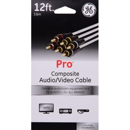 GeneralElectric GE 12 ft. PRO Composite Audio/Video Cable - Connects TV or HDTV Equipment for All Brands!