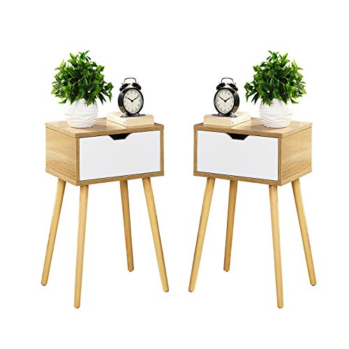 Sweetgo Modern Natural nightstand,Bedside Table,Sofa Side Table,end Table,Wooden Drawer with Storage,Side Table with Drawer, Living Room Bedroom Furniture,Set of 2.