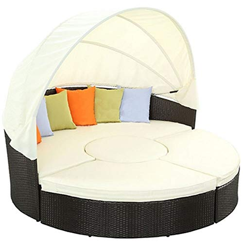 B-fengliu Patio Furniture Outdoor Lawn Backyard Poolside Garden Round With Retractable Canopy Wicker Rattan Round Daybed, Seating Separates Cushioned Seats/71inches,78.7inches