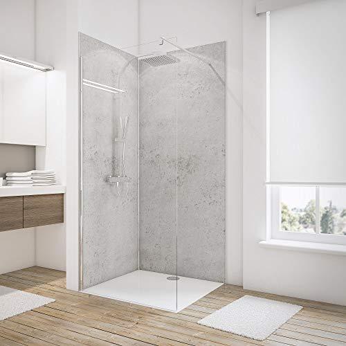 Schulte Duschrückwand Set über Eck, Dekor Stein Grau-hell, 2 x 90x210 cm, Wandverkleidung aus 3 mm Aluminium-Verbundplatte d als fugenloser Fliesenersatz