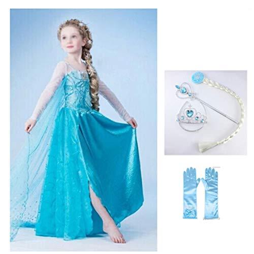 Princess Elsa kostuum meisjes Elsa prinses jurk met lange mouwen pailletten cosplay partij kostuum meisje prinses voor halloween carnaval 140cm Blauw