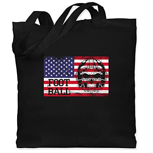 Shirtracer American Football Outfit Trikot - Football Vintage mit Amerika Flagge - Unisize - Schwarz - Spruch - WM101 - Stoffbeutel aus Baumwolle Jutebeutel lange Henkel