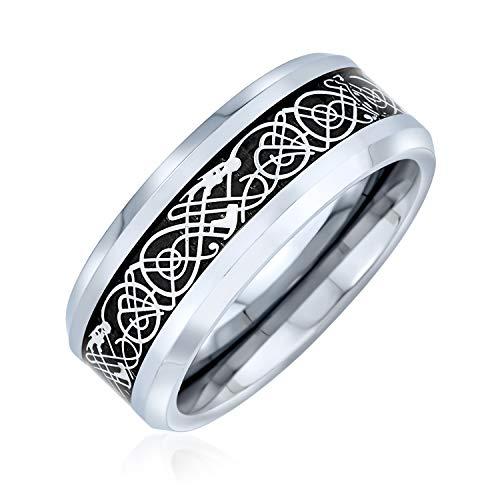Bling Jewelry Dos Tonos Negro Plata Celta Nudo dragón Inlay Parejas Titanium Anillos de Boda para Hombres para Las Mujeres Comodidad Ajuste 8MM