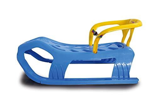 Jamara 460367 - Snow Play Schlitten mit Lehne Snow-Star 90cm blau - Rückenlehne inkl. Sicherheitsband, ergonomischer Sitz, Metallkufen, Kippschutz, robuster Kunststoff, Seil mit Griff zum Ziehen, 3KG