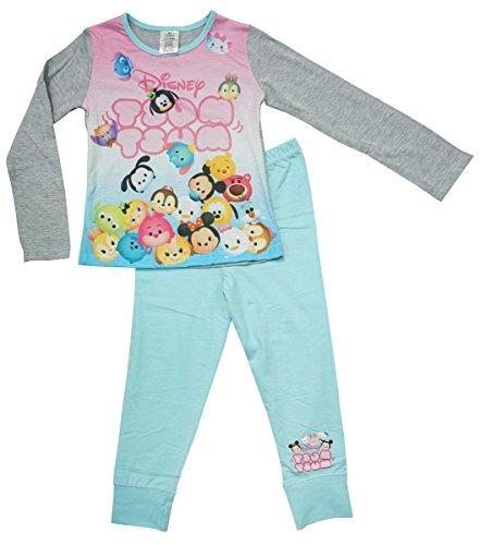 Mädchen Offiziell Disney Tsum tsum Mickey Eeyore Goofy lang Pyjama Größen from 4 to 10 Years - grau, 5-6 Years