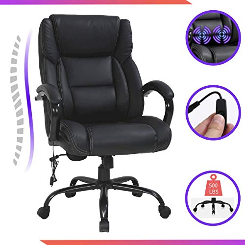 Big & Tall Office Chair Leather Executive Office Chair-500LBS High Back Desk Computer Swivel Chair, Heavy Duty Metal Base, Adjustable Tilt Angle, Thick Padding and Ergonomic Design for Lumbar Support