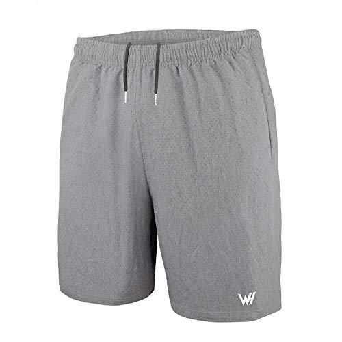 WHCREAT Pantaloncini da Running da Uomo con Design a Rete per Allenamento in Palestra Sportiva Grigio Chiaro