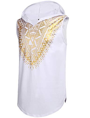 Pacinoble Mens African Dashiki Shirt Metallic Floral Printed Sleeveless Pullover Hoodie Tank Top T Shirts