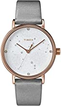 Timex Women's Celestial Opulence 37mm Watch with Swarovski Crystals – Gray Dial & Rose Gold-Tone Case with Gray Textured Leather Strap