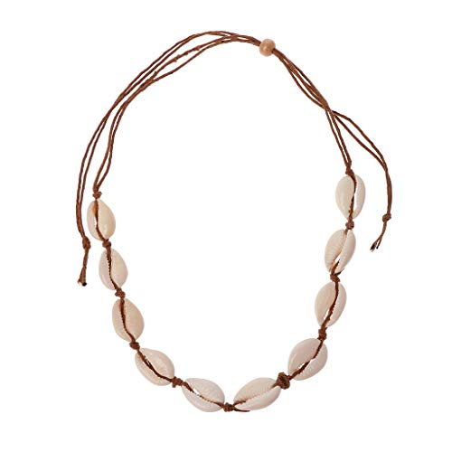 Lhuaguo Collar de Gargantilla de Conchas Marinas Naturales de Doble Uso Joyería Hecha a Mano de Boho de Playa