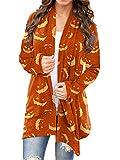 Onsoyours Cardigan Donna Moda Manica Lunga Cappotto Lungo da Donna Halloween Lanterna Volto Stampa Oversize in Maglia Casual Maglione Outwear H Arancione M
