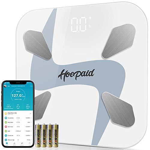 Hoepaid Escala de Grasa Corporal Bluetooth, Báscula de Baño Digital Smart APP, Adecuada Para Grasa, IMC, Masa Muscular y Otros 17 Tipos de Medición del Valor Corporal --- Blanco