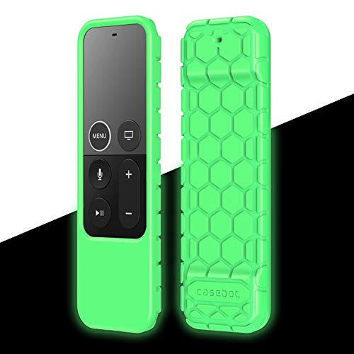 Fintie Protective Case for Apple TV 4K/ HD Siri Remote (1st Gen) - Honey Comb Lightweight Anti Slip ShockProof Silicone Cover for Apple TV 4K 5th 4th Gen Siri Remote Controller, Green Glow in the Dark