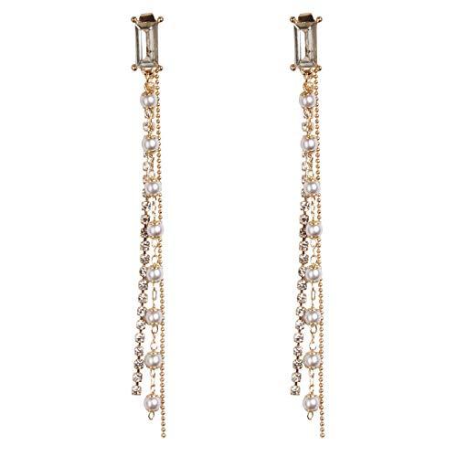 JDWD Pendientes de plata de ley 925 con aguja de temperamento largo y perla sexy para mujer
