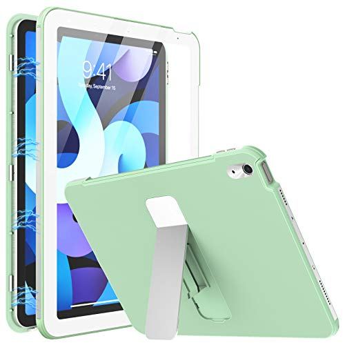 MoKo Case Fit iPad Air 4th Generation - iPad Air 4 Case 10.9 inch [Built-in Screen Protector] Full Body Shockproof Cover, Magnetic Adsorption Case with Foldable Kicstand, Green
