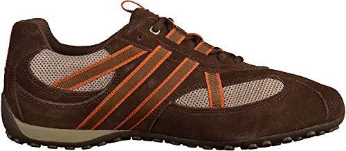 Geox U2207S Snake Sportlicher Herren Sneaker, Schnürhalbschuh, Freizeitschuh, atmungsaktiv, lose Einlegesohle,  44 EU,  Braun Braun Beige