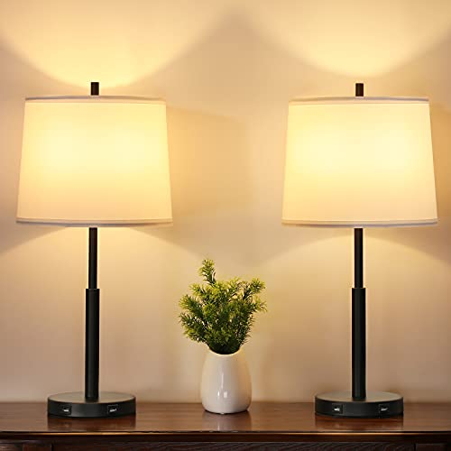 Touch Control Table Lamps Set of 2, Ziisee 3-Way Dimmable Bedside Lamps with Dual USB Charging...