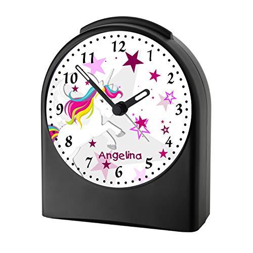 CreaDesign, WU-50-1129-02, Einhorn Farbe Rosa, analog Kinderwecker schwarz, Funkwecker ohne Ticken, mit Licht, personalisiert mit Namen, 9,6 x 5,5 x 11,9 cm, 104 g