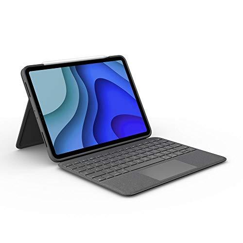 Logitech Folio Touch iPad Hülle Tastatur, Trackpad & Smart Connector für 11 Zoll iPad Pro (Modell: A1980, A2013, A1934, A1979, A2228, A2068, A2230, A2231) UK QWERTY-Layout Grafit