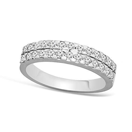 Diamond Rings Lab Grown Diamond Rings 1/2 Carat 2 layer pave Engagement Ring For Womens 14K White Gold GH-SI Quality Lab Created Diamond Rings (Jewellery for Her)