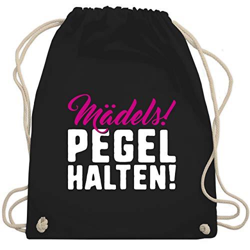 Shirtracer Festival Turnbeutel - Mädels Pegel halten - Unisize - Schwarz - pegel turnbeutel - WM110 - Turnbeutel und Stoffbeutel aus Baumwolle