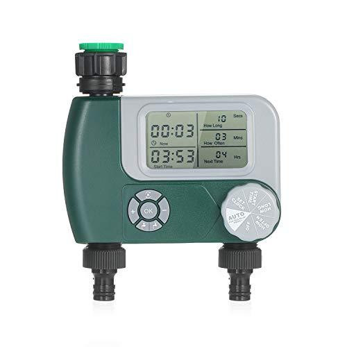 KKmoon Programador de riego Temporizador de grifo de manguera digital programable de riego automático sistema de riego automático al aire libre con 2 salidas para jardín (baterías no incluidas)