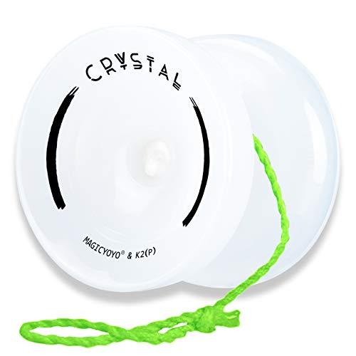 MAGICYOYO Responsive Yoyos K2 Plus Crystal for Kids Beginner, Durable Plastic Yoyo Professional Fingerspin Yo-yo with Yoyo Sack + 5 Yoyo Strings + Yo-Yo Glove ( Jade Color White )