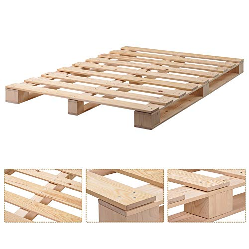 AMOLEY Hochwertiger Holzbettrahmen aus Holz, Plattformbett mit starker...