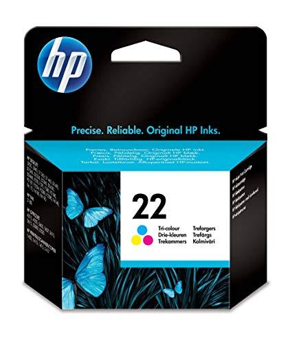 HP 22 C9352AE, Tricolor, Cartucho de Tinta Original, compatible con impresoras de inyección de tinta HP Deskjet D1530, D1560, D2360, D2460, F2290, F335, F2180, F380, F390, F4180; Officejet 4315, 4355
