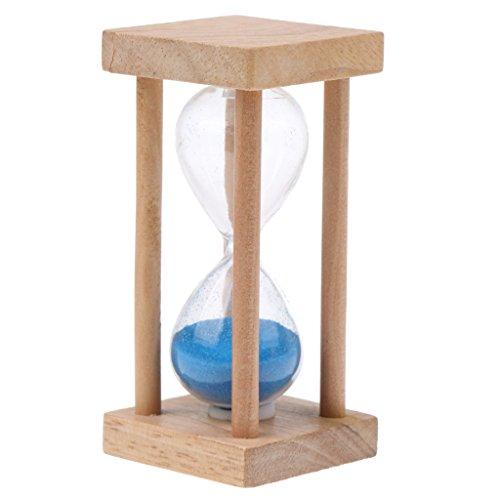 MagiDeal 5 minutes bois Cadre carré sablier Sandglass sable minuteur bleu