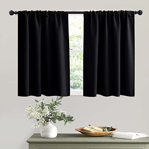 RYB HOME Black Curtains Blackout - Bathroom Small Window Curtains Thermal Insulated Privacy Drapes for Kids Bedroom Living Room Kitchen Basement,...