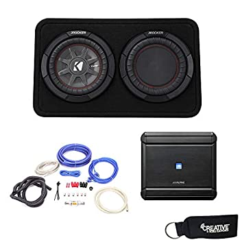 Alpine MRV-M500 Amplifier and a Kicker CompRT10 10-inch Subwoofer in Truck Enclosure 2-Ohm - Includes Wire kit