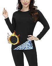 Skysper Thermo-ondergoed voor dames, sneldrogend, ademend, sport, shirt met lange mouwen en broek, voor yoga, skiën, hardlopen, wandelen, fietsen, S-XXL