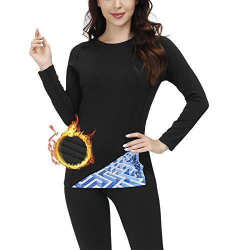 SKYSPER Ropa Interior Térmica Mujer Conjuntos Térmicos Camiseta Térmica Manga Larga Pantalones...