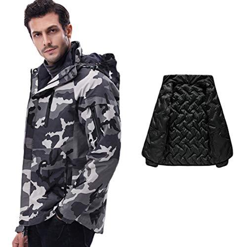 Mens 3 in 1 Jacket - Manteau Respirant pour Hommes Softshell Imperméable Contre la Pluie Doublure en Coton Détachable pour Les Voyages et la Randonnée,Gray,XXXXXXL(185-190cm)