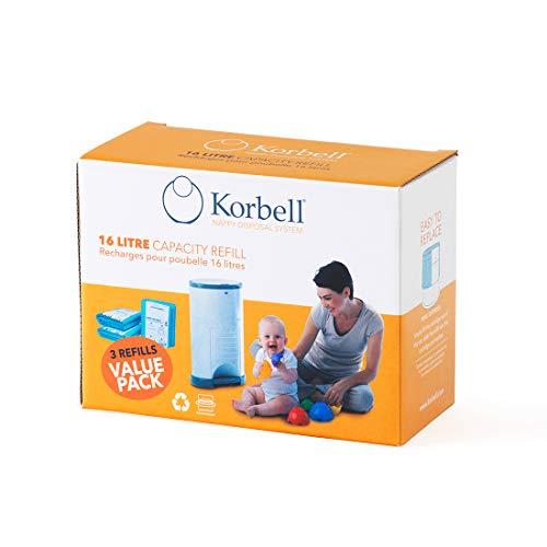 KORBELL - Recarga de pañales - STANDARD - 16 L - X3 - Biodegradable - Antiolor - Capacidad de 240 capas por recambio