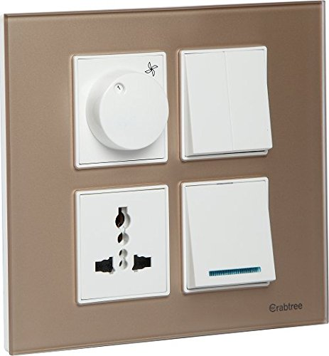 Havells ACMPGCLS08 Murano 8M Square Glass Cover plate - Stone Beige