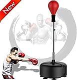 GRXIN Bola De Velocidad De Boxeo,Punching Ball, Saco De Boxeo De Pie,Soporte Ajustable Bola De Velocidad,Set De Boxeo para Niños Y Adultos,Rojo