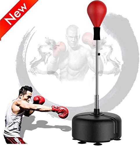 Vrijstaande Bokszak, Bokszak, Speed Ball met Stand Tumbler Agility Stand Zandzak Bokshandschoenen Set met Zuignapbasis, Sterke Zuignap Reflex Speed Training Stand,Red