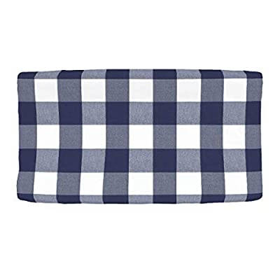 Everything Kids Kimberly Grant Woven Buffalo Check Navy Changing Pad Cover, Navy, White